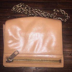 Chain link via spiga brown leather crossbody zip